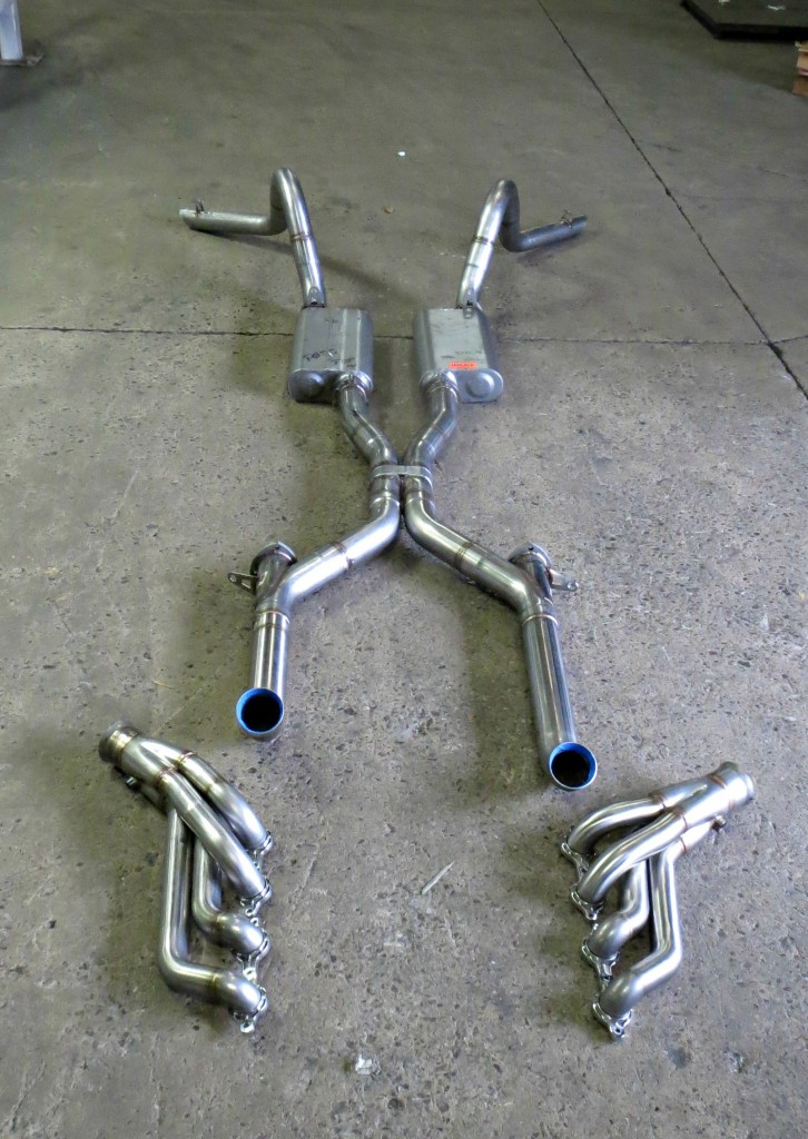 "Seen here is complete Flowmaster 3"" stainless steel exhaust system and the stainless steel Ultimate Headers before being NitroPlated."