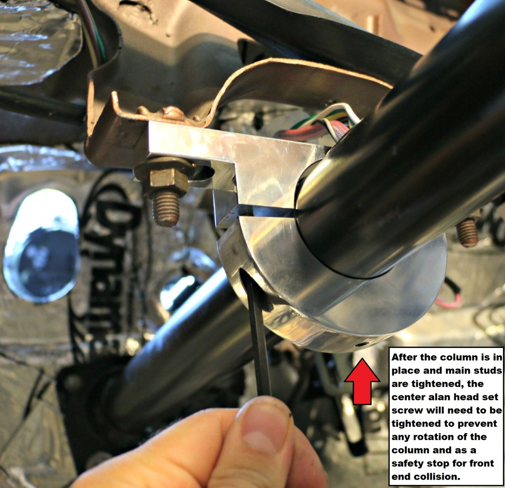Tighten the cap screws to set the depth and center-line of the column. Tighten the small alan set screw to prevent column rotation and also provide front collision safety
